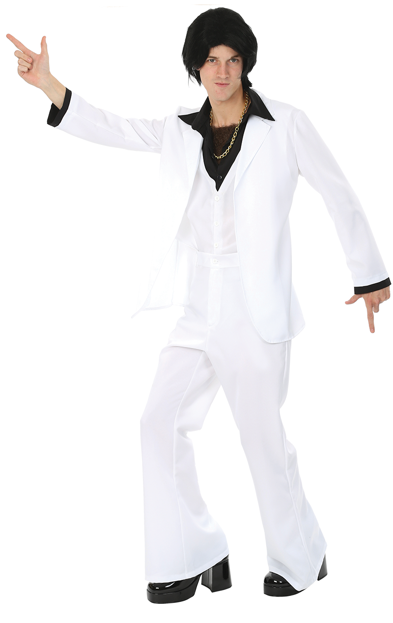 Adult White 1970s Suit Costume