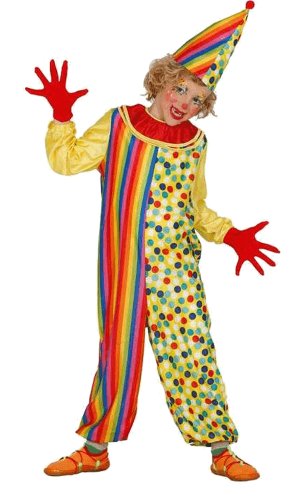 Child Patterned Clown Costume