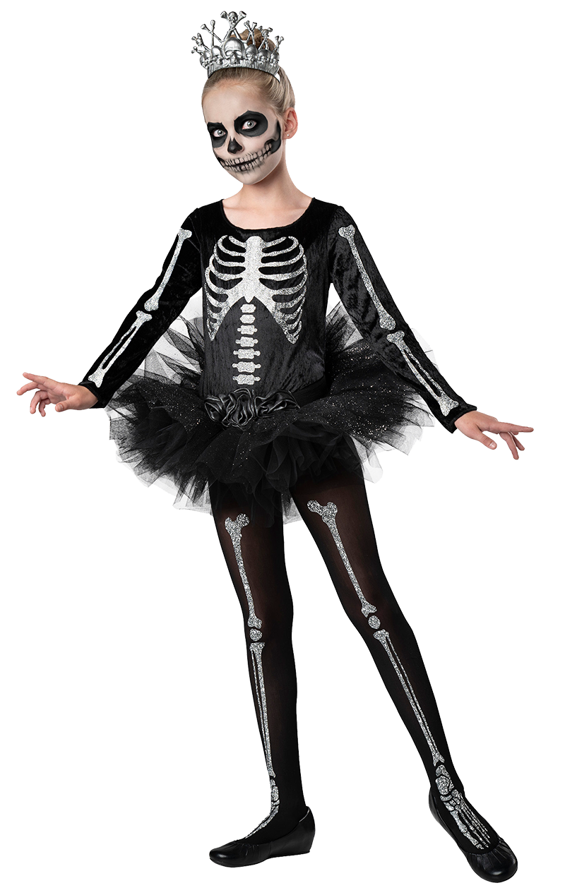 Girls Skeleton Ballerina Halloween Costume
