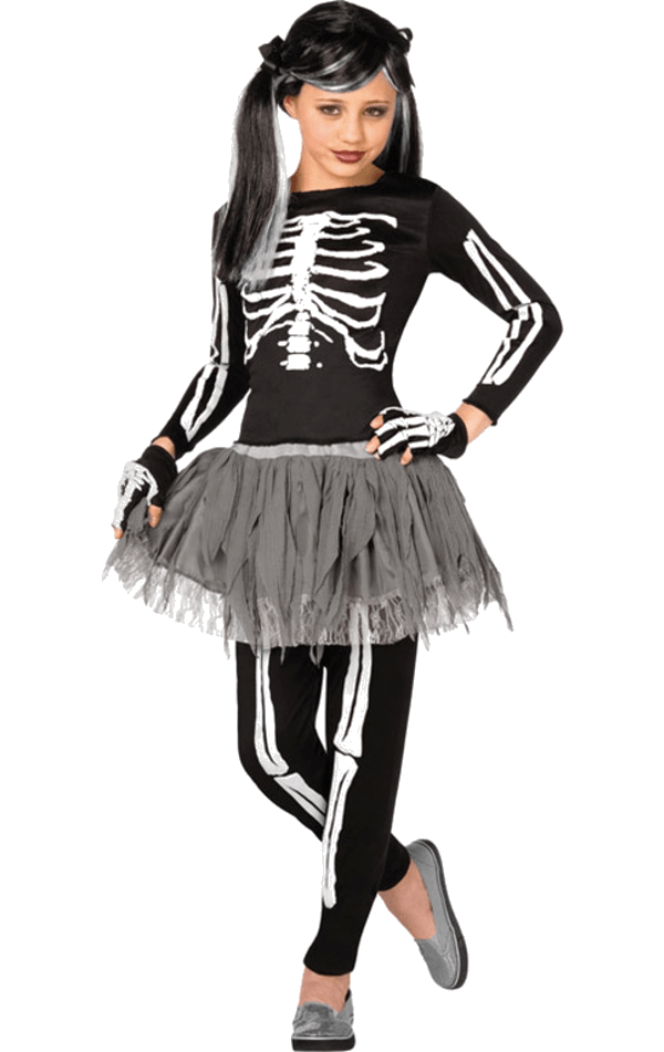 Kids Gothic Skeleton Halloween Costume