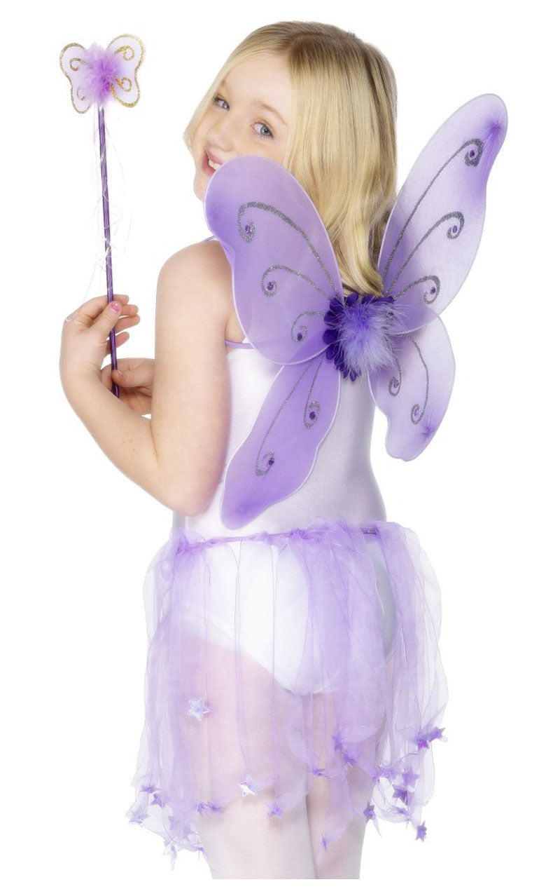 Child Purple Butterfly Wings and Wand