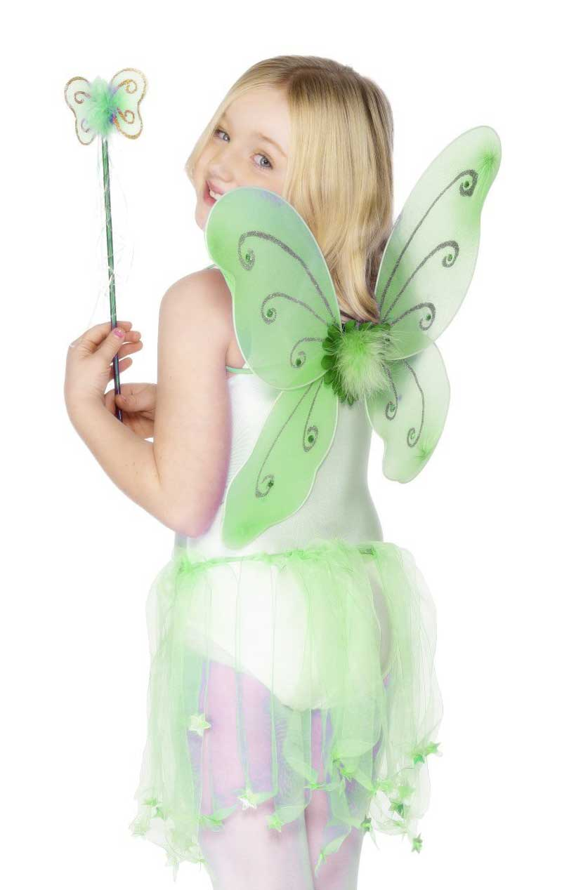Child Green Butterfly Wings and Wand