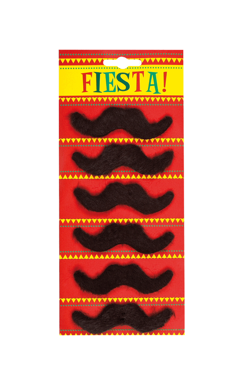 6 Pack Black Mexican Moustaches