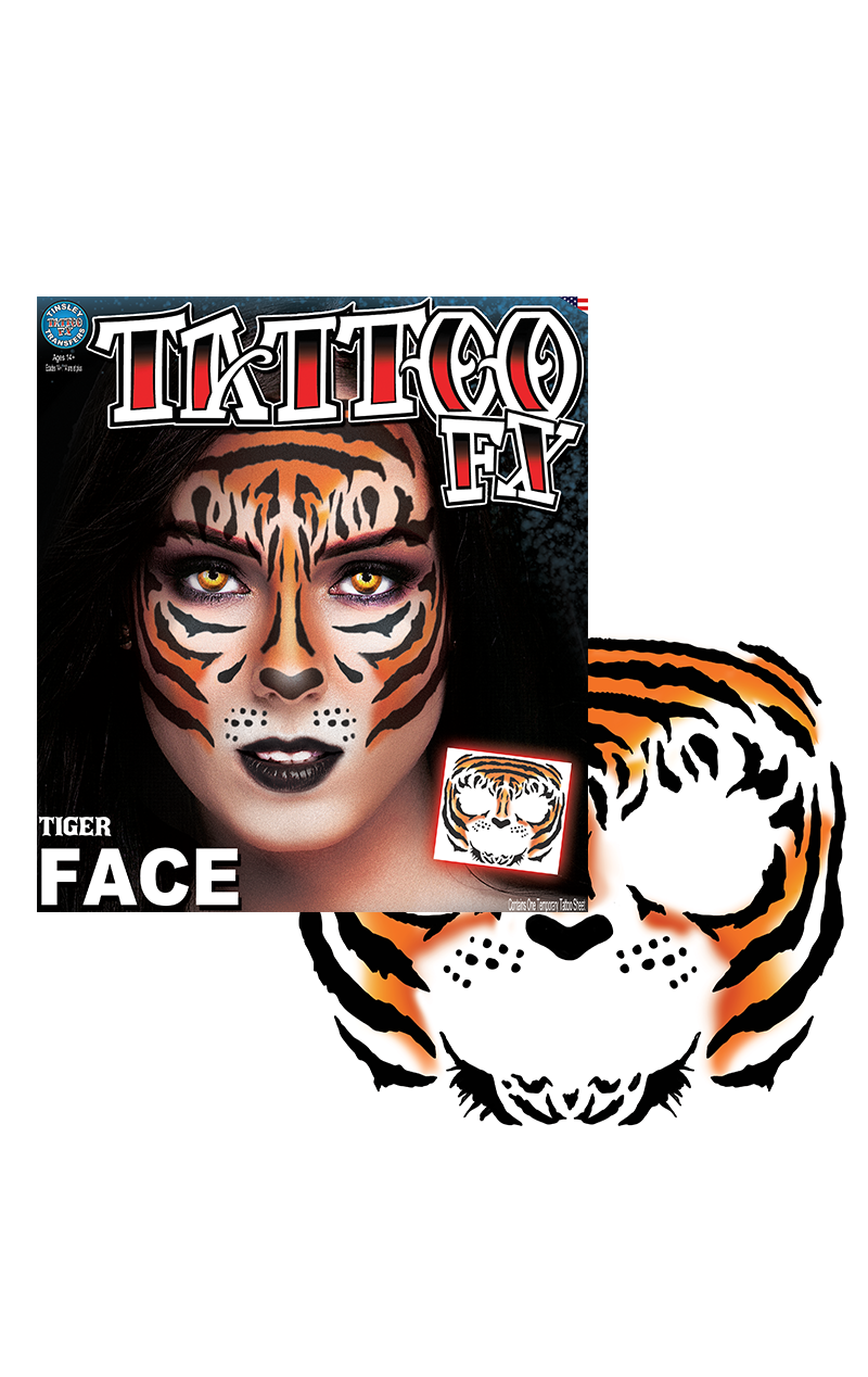 Tiger Face Tattoo Transfer