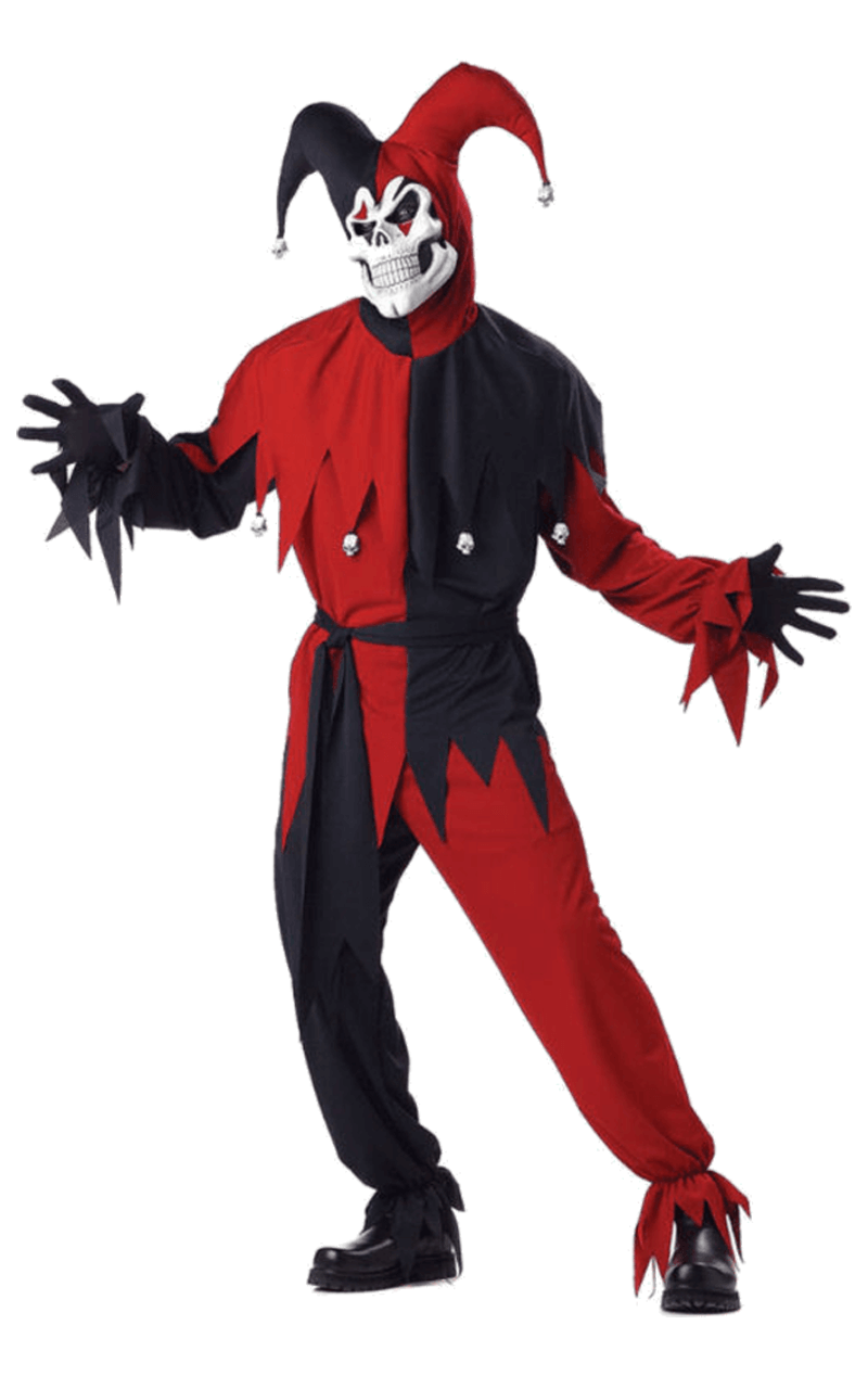 Adults Red/Black Evil Jester Costume