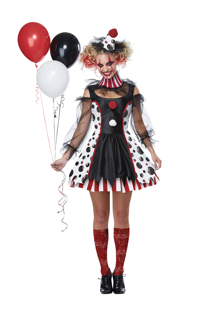 Womens Twisted Clown Halloween Costume