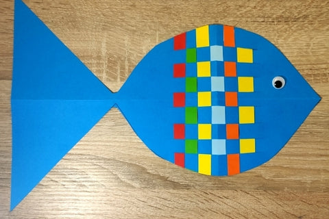 Fish with coloured paper stripes