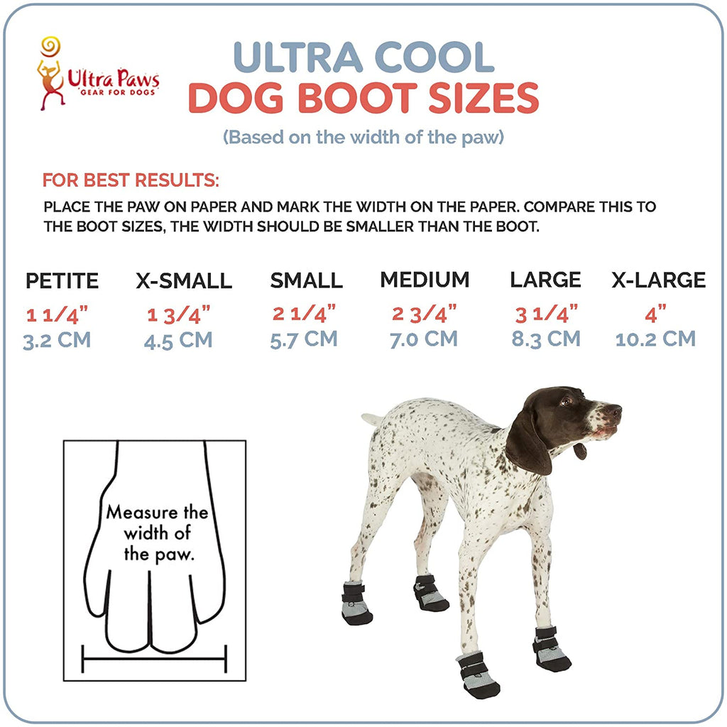 Ultra Paws Cool Silver Dog Shoes or Dog Boots size chart