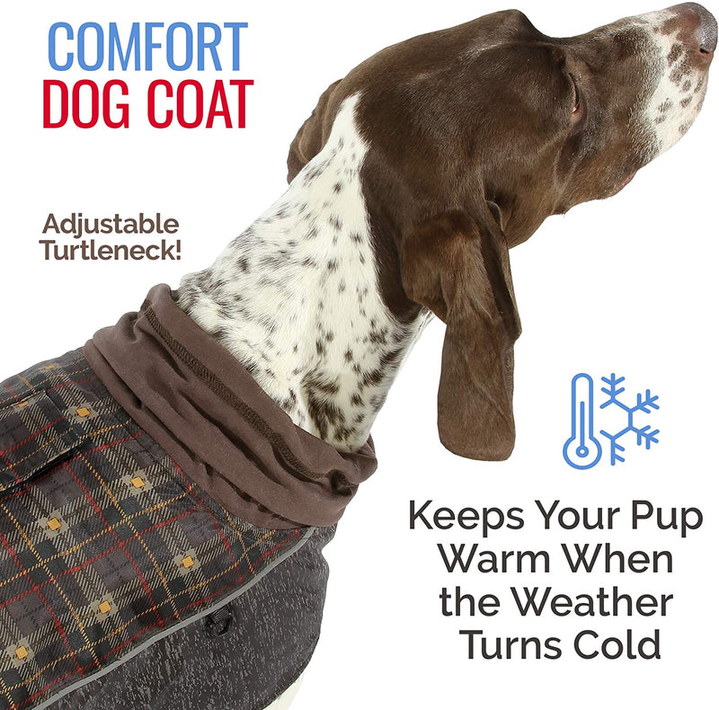 COMFORT COAT - BROWN PLAID/REFLECTIVE - LARGE