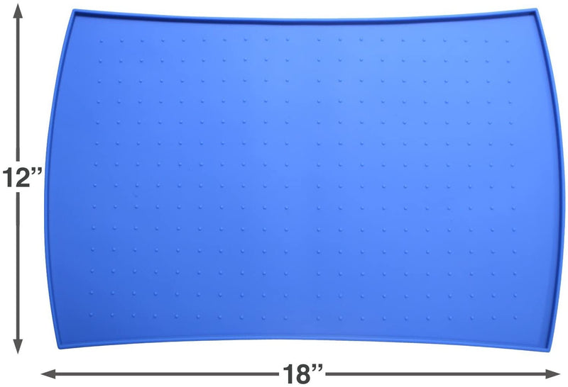Pet Food Mat in Silicone (Small, Blue)