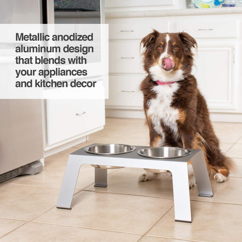 PetFusion | Raised Feeder in Anodized Aluminum | Tall | Gray