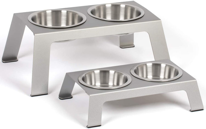 PetFusion | Raised Feeder in Anodized Aluminum | Short | Gray