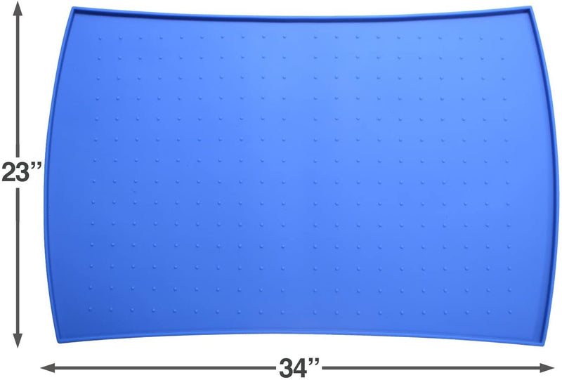 Pet Food Mat in Silicone (XL, Blue)
