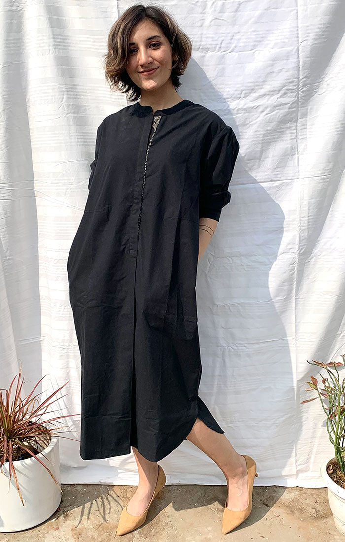Black Organic Cotton Shift Dress with pants