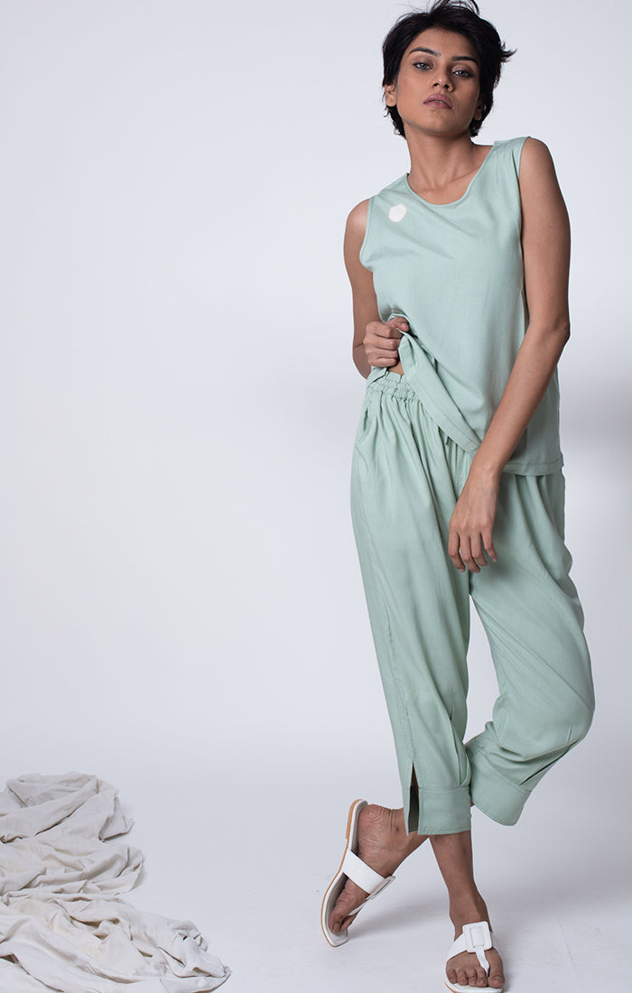 Sage Green Top with mid calf pants