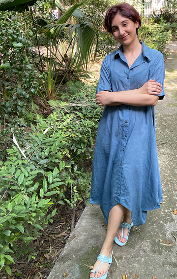 Handspun handwoven Muslin Shirt Dress - Jodhpur Blue