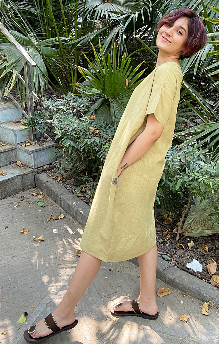 Handspun handwoven Peg Dress - Khakhi