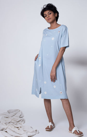 Dusty Blue Shift Dress