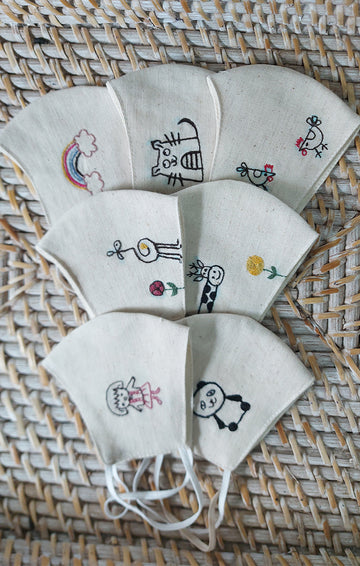 Embroidered set of 4 Cloth Mask - All Age Groups