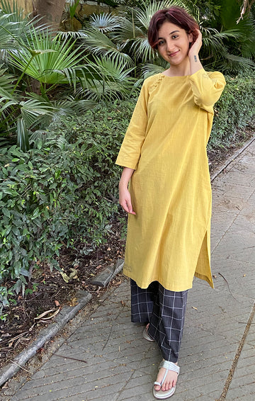 Mustard Boat Neck Kurta with Grey Checked Pants