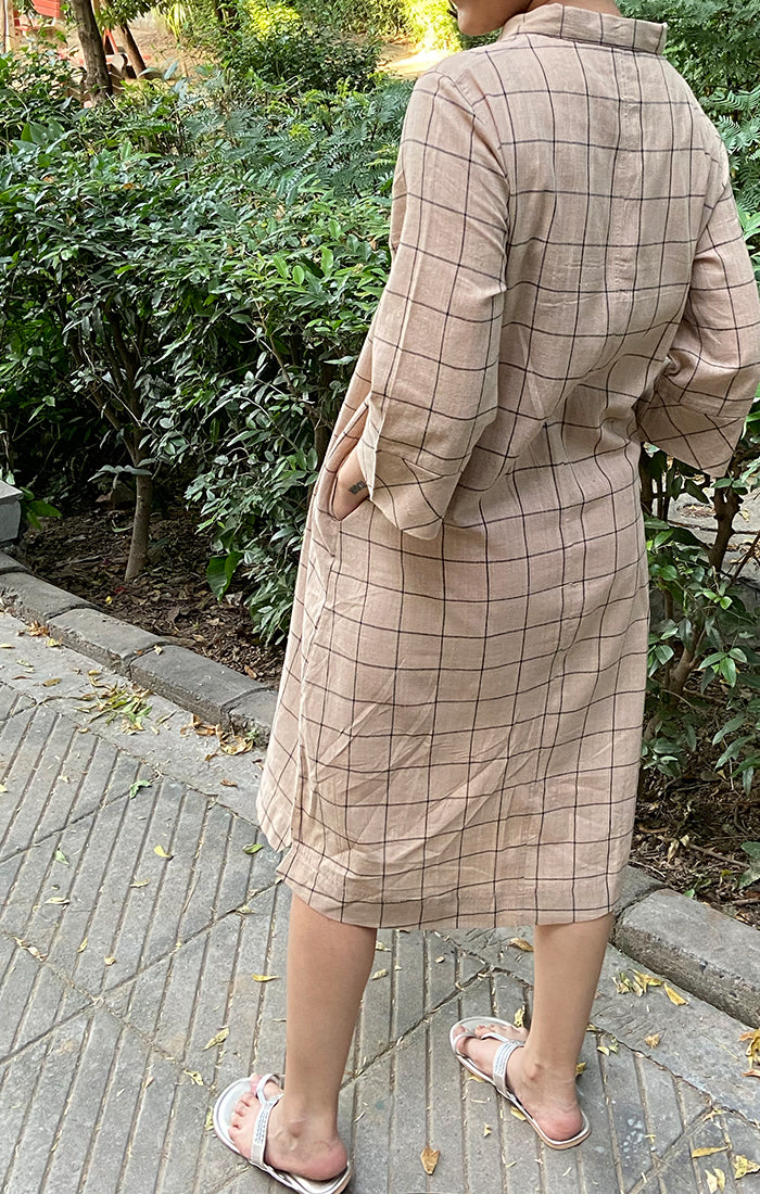 Shirt Dress Beige Checks