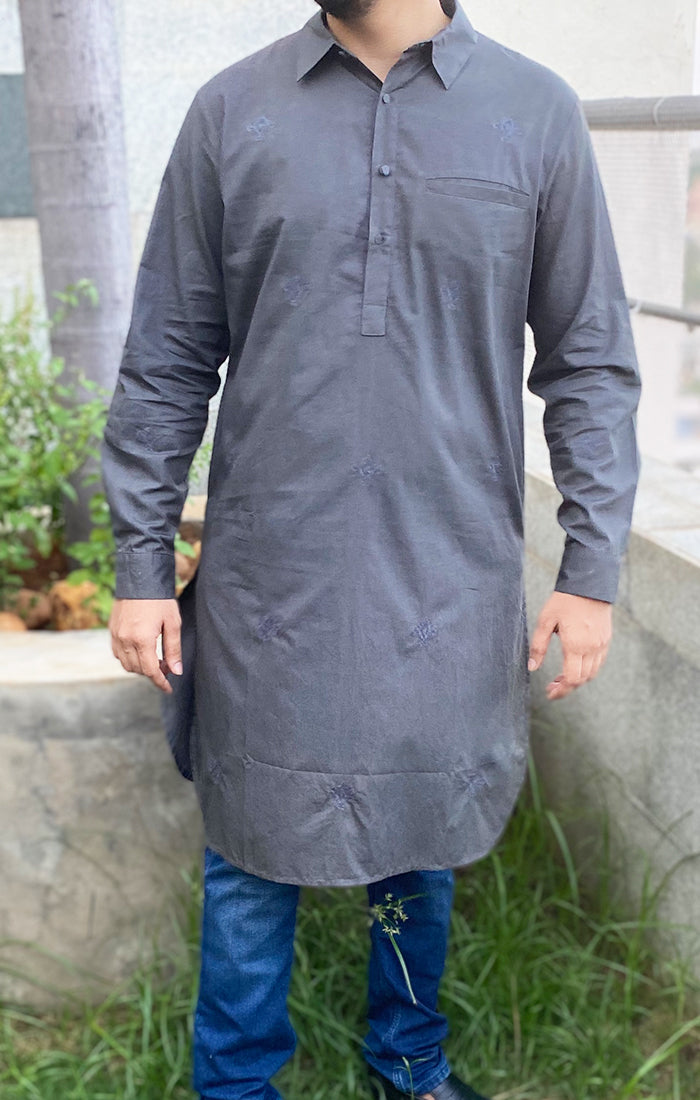 Grey Pathani Kurta