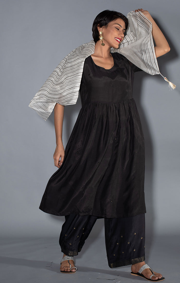 Black Soft Silk Tunic Dress