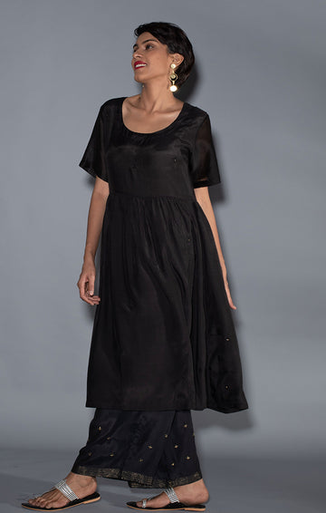 Black Soft Silk Tunic Dress with soft silk palazzo