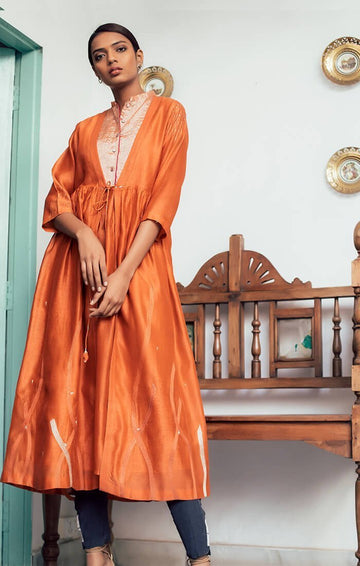 Deconstructed Anarkali in Burnt Orange