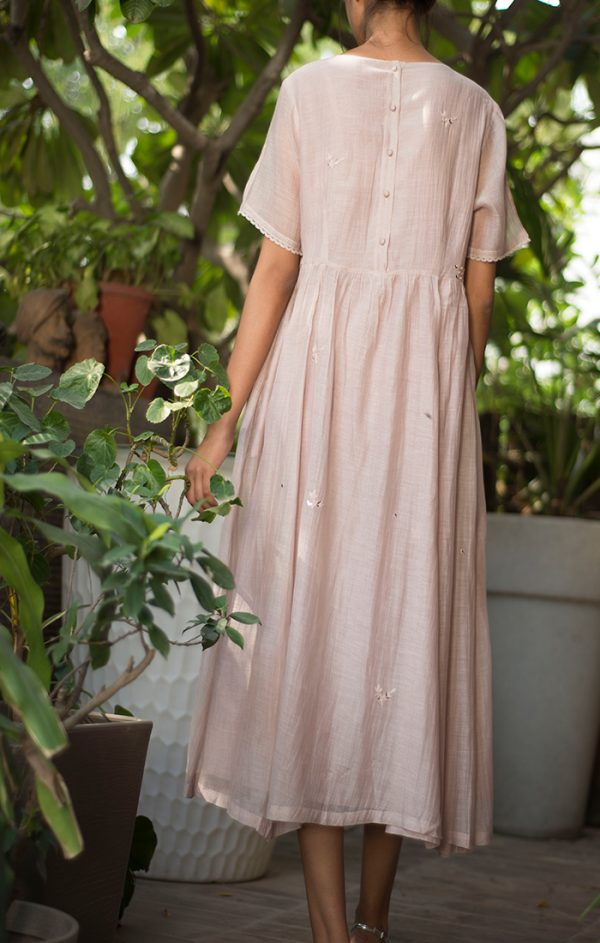 Mid Calf Flared Dress Onion Pink - Chanderi