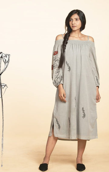 Dusty Grey Off Shoulder Dress