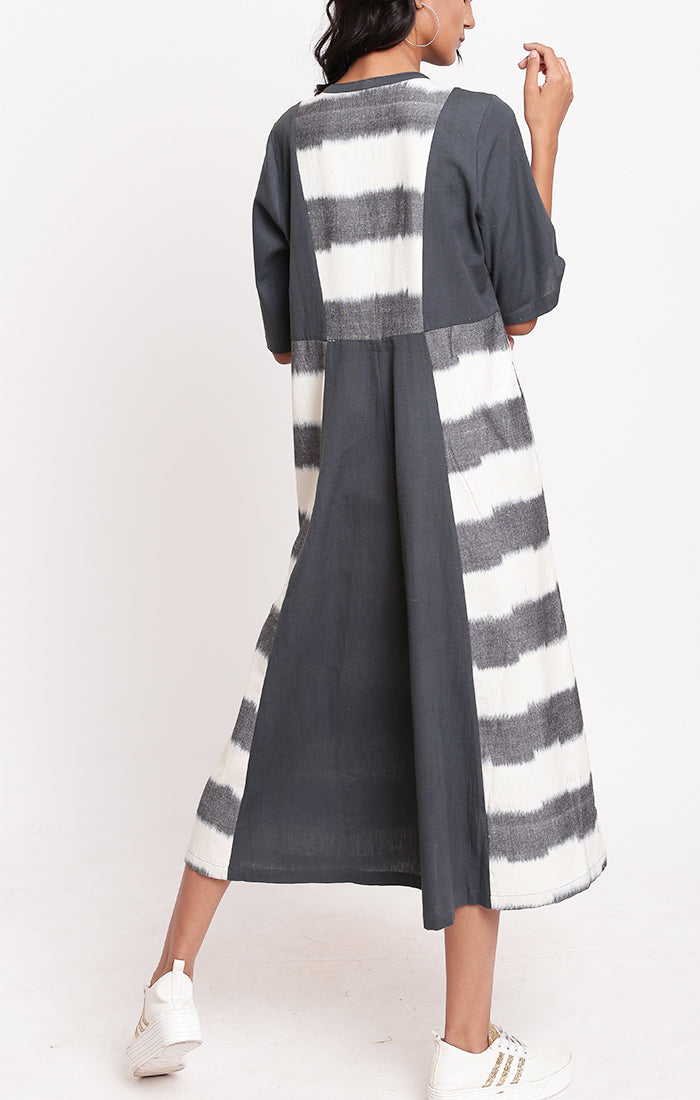 Ikat Shirt Dress Grey