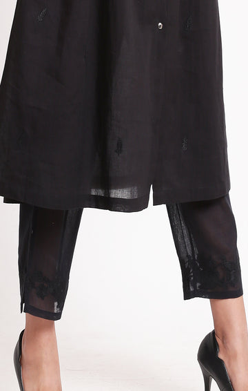 Black sheer pants with embroidery