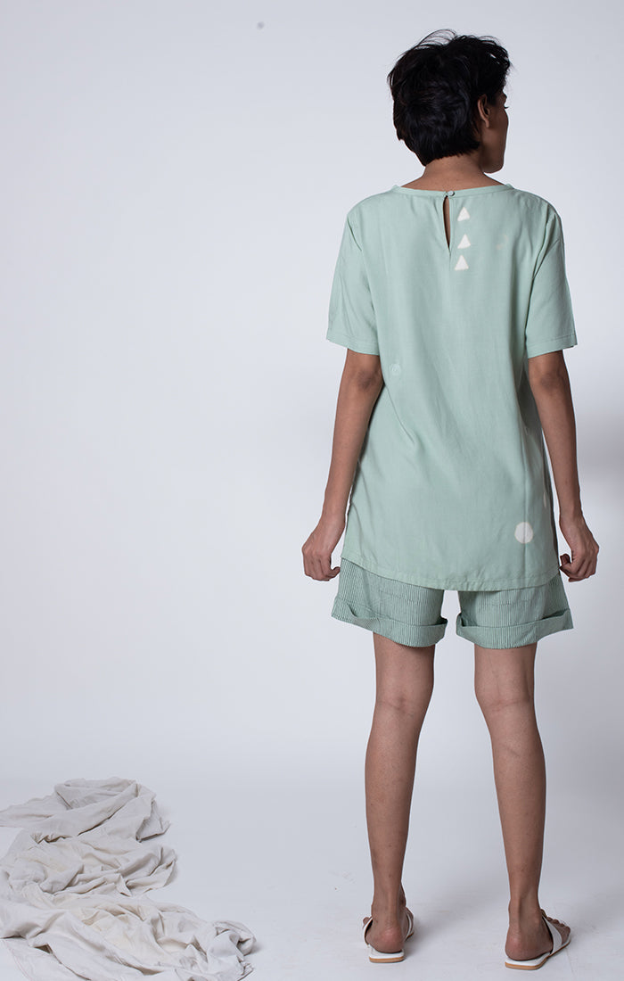 Sage Green Tee with shorts