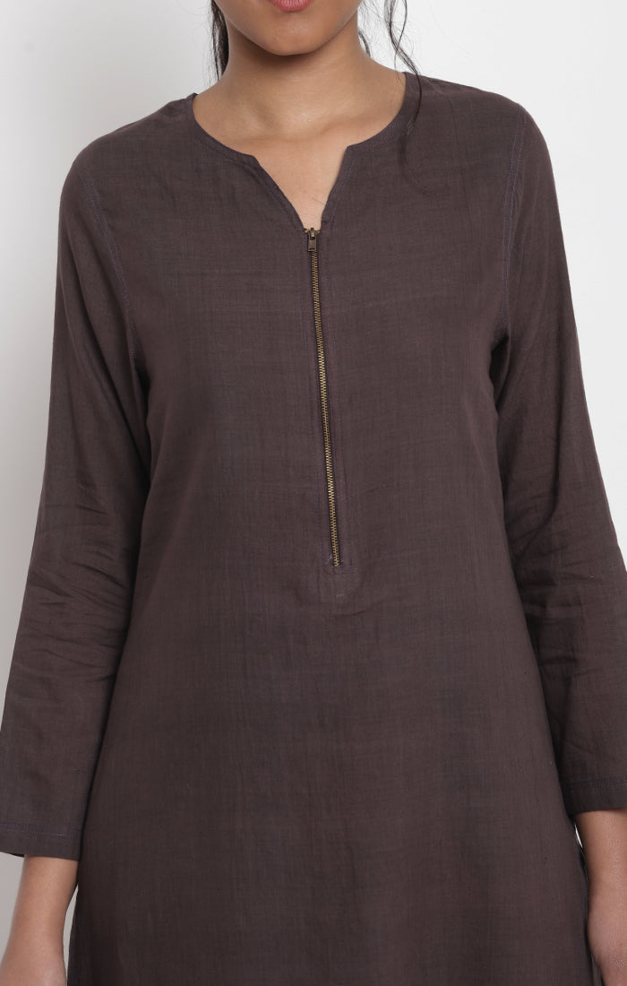 Cinnamon Handspun handwoven Muslin Kurta with Pants