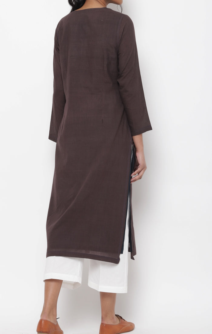 Cinnamon Handspun handwoven Muslin Kurta with front Zipper