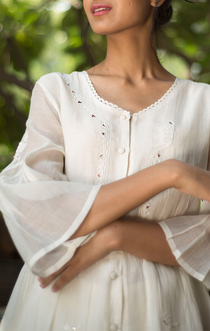 Ivory Chanderi Tunic with Chanderi Palazzo