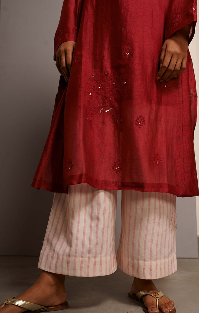 Carmine Tunic/Kurta with Pants and stole
