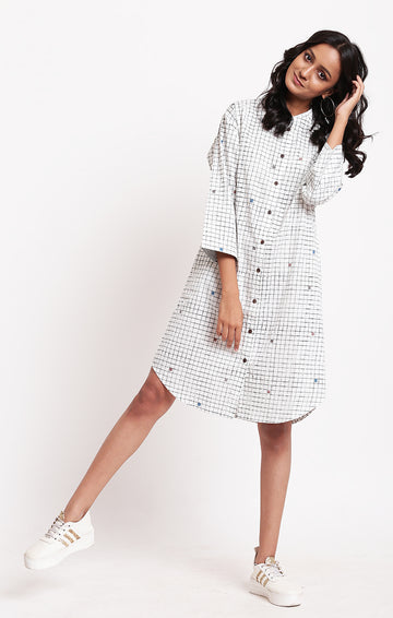 Shirt Dress checks ivory