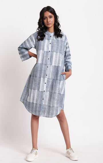 Shirt Dress Blue Stripes
