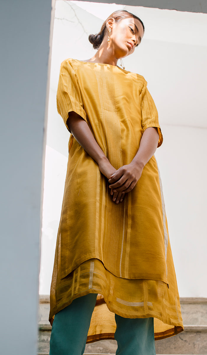 Layered Tunic Dress - Mustard