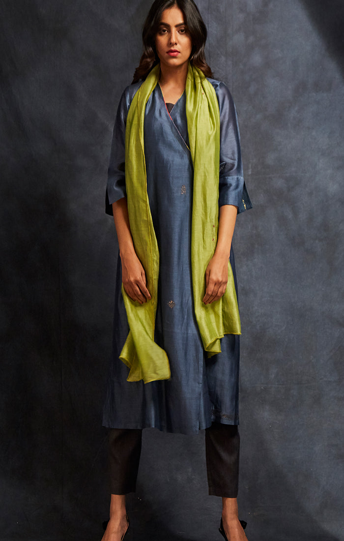 Prussian Blue Tunic/Kurta with pants and choice of stole lime green or fuschia