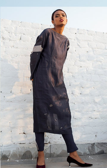 Blousson Dress in Charcoal Grey