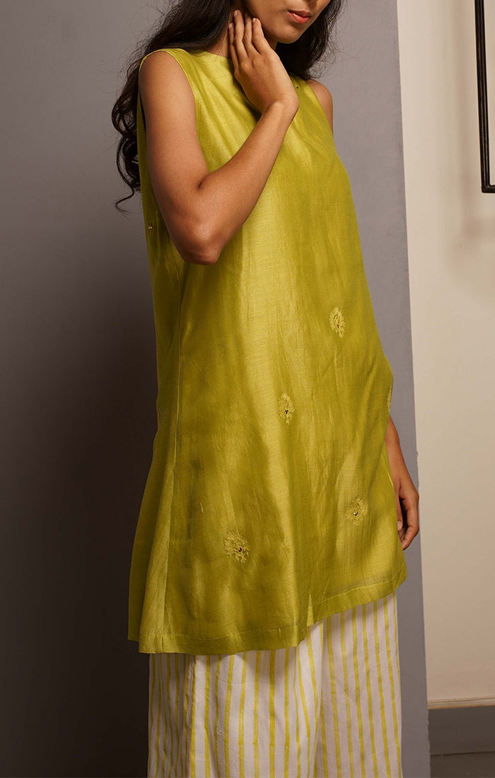 Citron Green A line Tunic with Pants