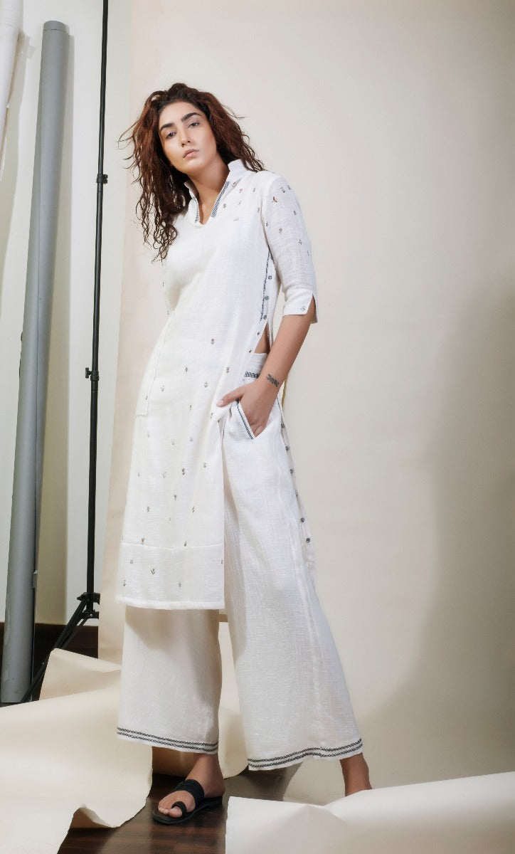 Shirt Dress Ivory with Pants