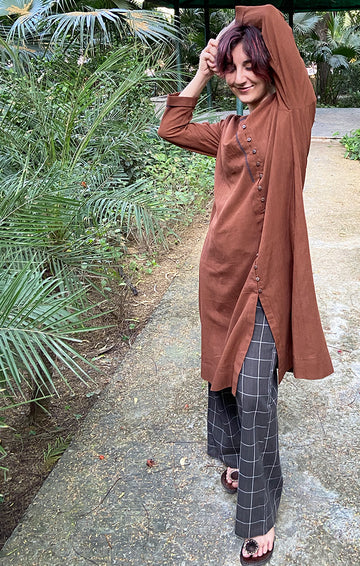 Cinnamon Kurta with Grey Checked Pants
