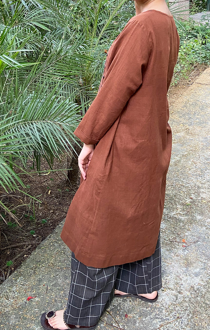 Cinnammon side open Kurta