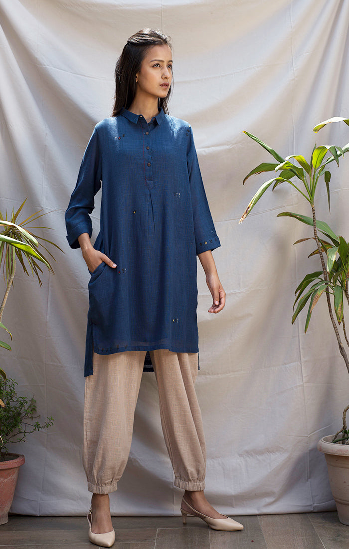 Tunic Dress - Blue with Pants