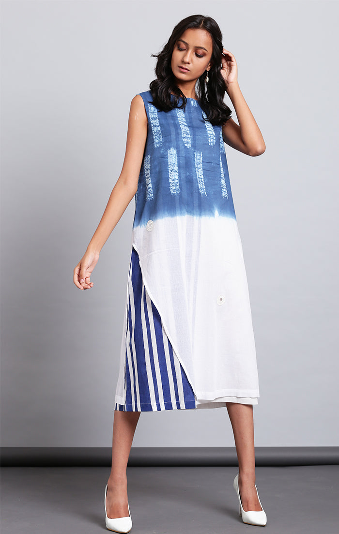 Indigo Ombre Shift Dress
