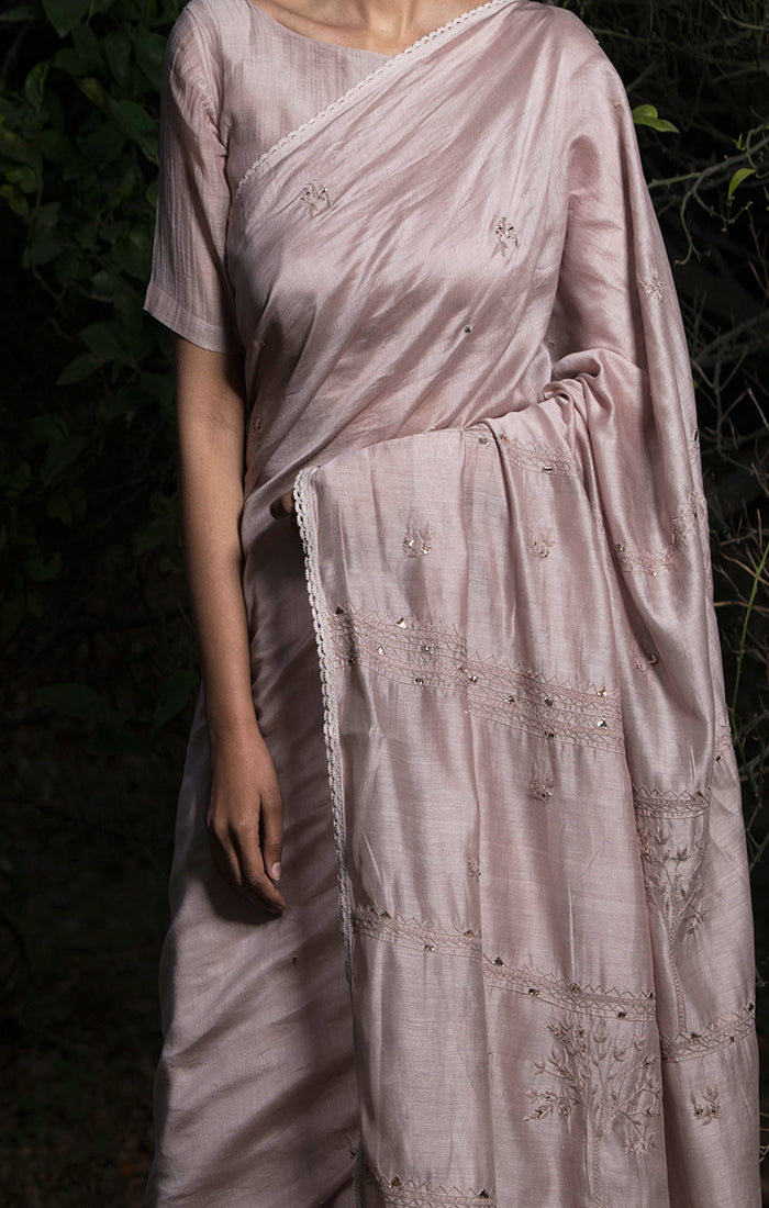Into the Woods Saree with Blouse - Onion Pink